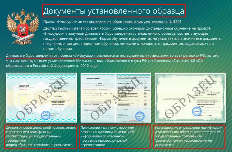 Сертификаты государственного образца